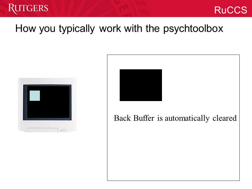 RuCCS How you typically work with the psychtoolbox Back Buffer is automatically cleared