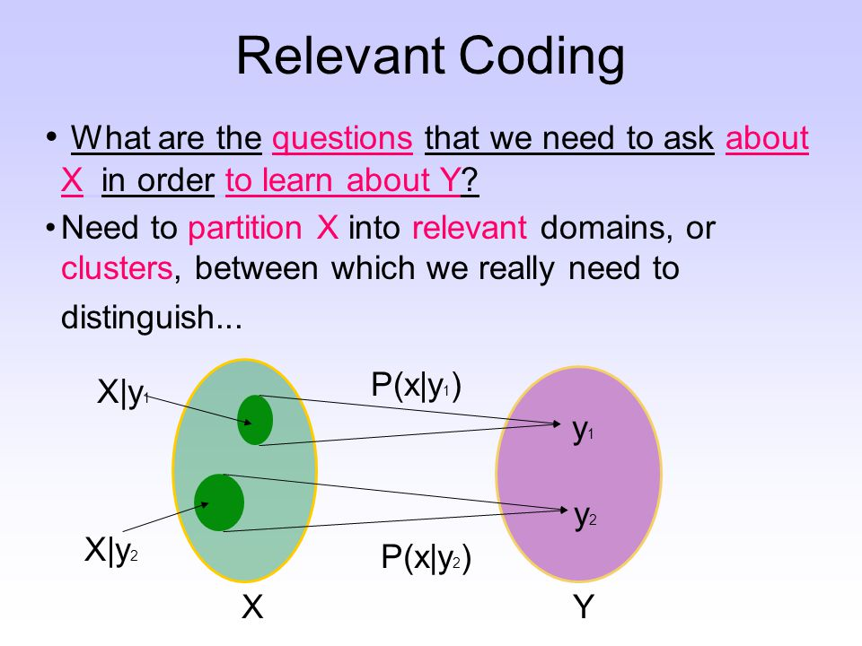 Relevant Coding What are the questions that we need to ask about X in order to learn about Y.