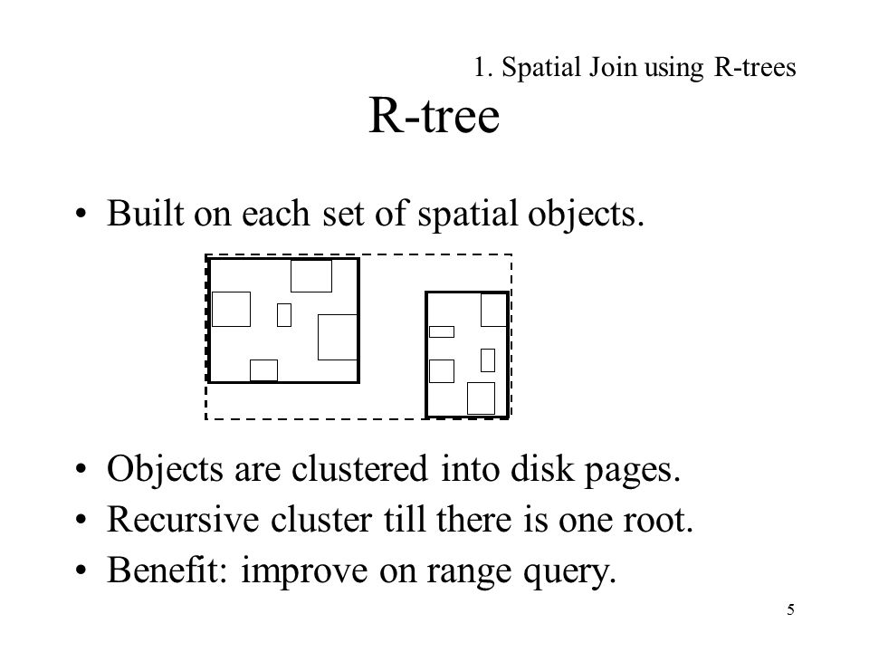 6 R-tree based Spatial Join Idea: depth-first, synchronized traversal of the two R-trees.