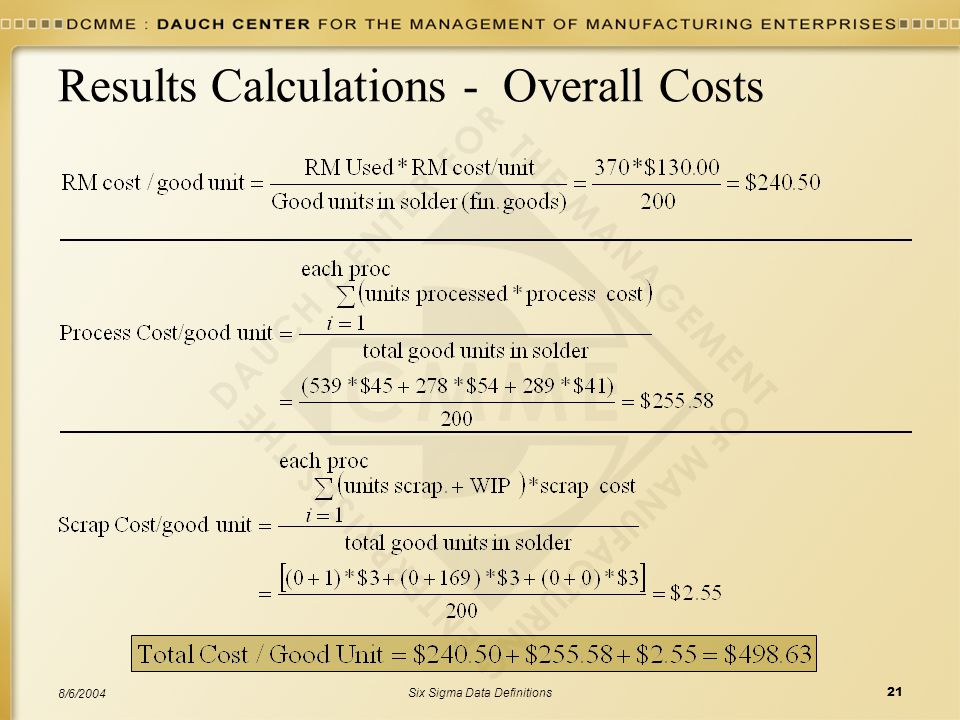 Six Sigma Data Definitions21 8/6/2004 Results Calculations - Overall Costs