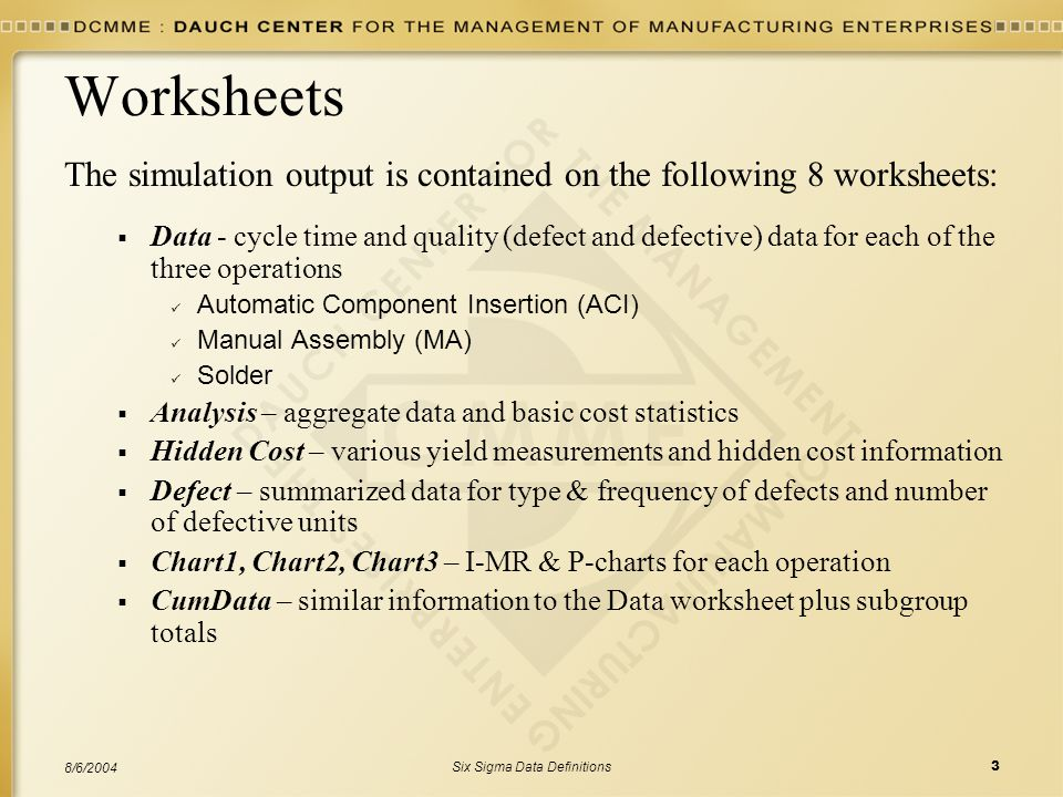 Six Sigma Data Definitions3 8/6/2004 Worksheets The simulation output is contained on the following 8 worksheets:  Data - cycle time and quality (defect and defective) data for each of the three operations Automatic Component Insertion (ACI) Manual Assembly (MA) Solder  Analysis – aggregate data and basic cost statistics  Hidden Cost – various yield measurements and hidden cost information  Defect – summarized data for type & frequency of defects and number of defective units  Chart1, Chart2, Chart3 – I-MR & P-charts for each operation  CumData – similar information to the Data worksheet plus subgroup totals