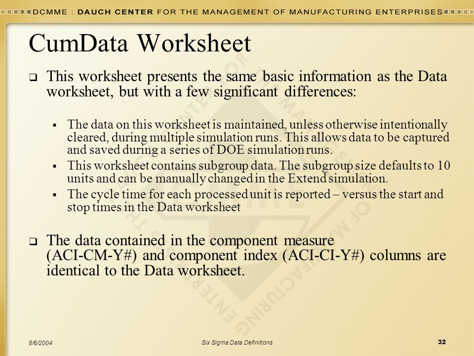 Six Sigma Data Definitions32 8/6/2004 CumData Worksheet  This worksheet presents the same basic information as the Data worksheet, but with a few sig