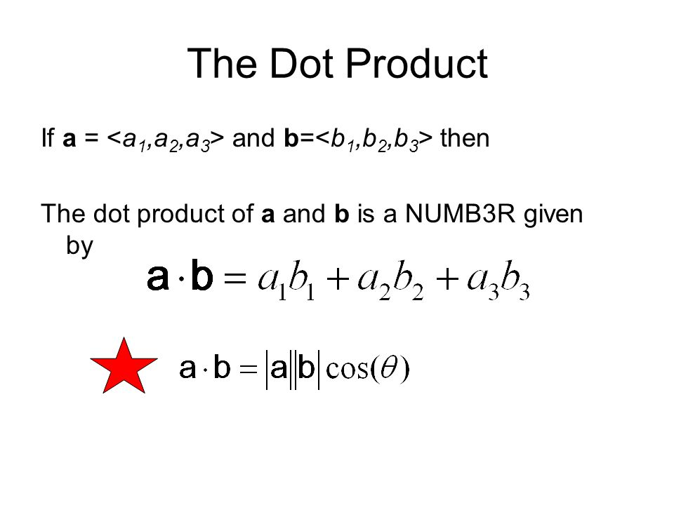 The Dot Product If a = and b= then The dot product of a and b is a NUMB3R given by