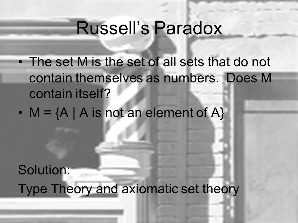 Russell's Paradox The set M is the set of all sets that do not contain themselves as numbers. Does M contain itself? M = {A | A is not an element of A