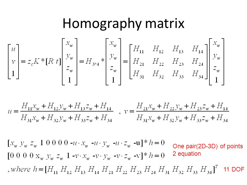 Homography matrix 11 DOF One pair(2D-3D) of points 2 equation