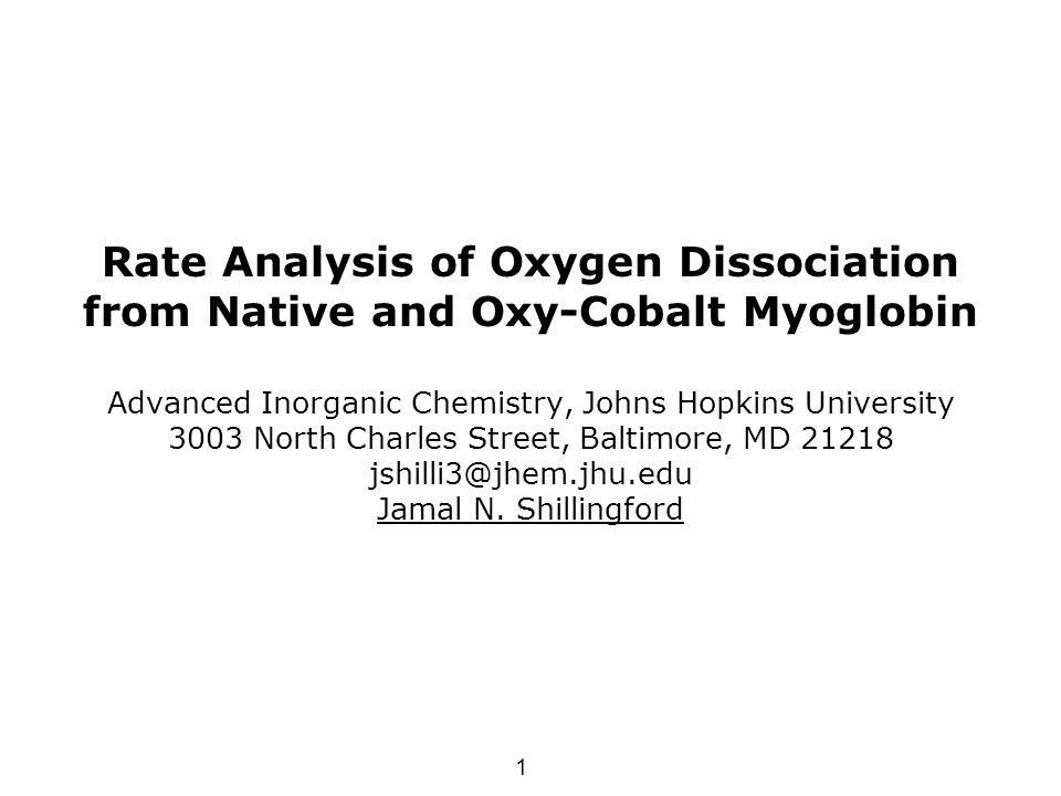 1 Rate Analysis of Oxygen Dissociation from Native and Oxy-Cobalt Myoglobin Advanced Inorganic Chemistry, Johns Hopkins University 3003 North Charles