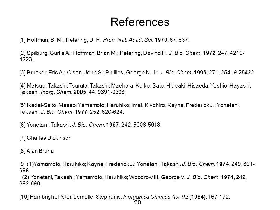 20 References [1] Hoffman, B. M.; Petering, D. H. Proc. Nat. Acad. Sci. 1970, 67, 637. [2] Spilburg, Curtis A.; Hoffman, Brian M.; Petering, Davind H.