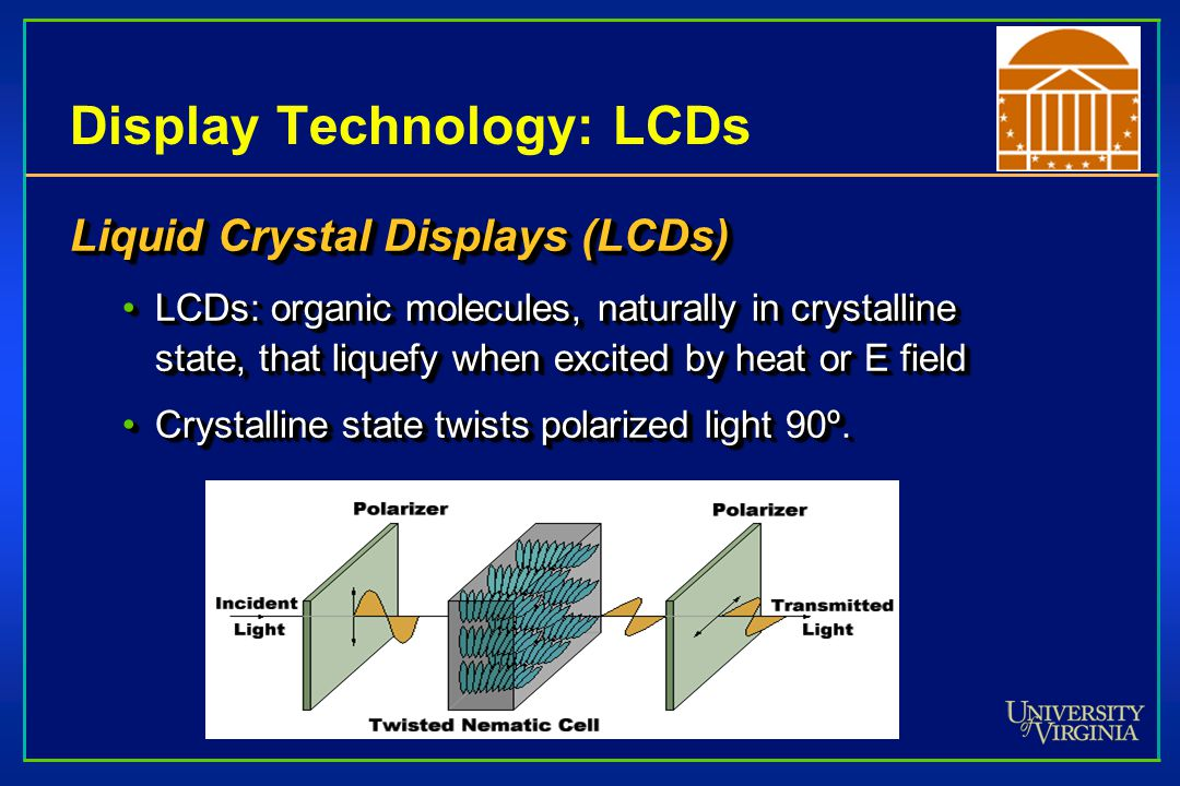 Display Technology: LCDs Liquid Crystal Displays (LCDs) LCDs: organic molecules, naturally in crystalline state, that liquefy when excited by heat or E fieldLCDs: organic molecules, naturally in crystalline state, that liquefy when excited by heat or E field Crystalline state twists polarized light 90º.Crystalline state twists polarized light 90º.