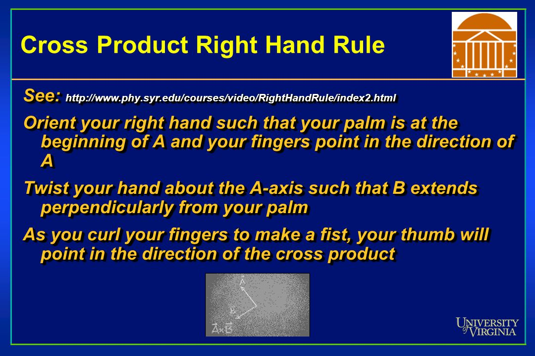 Cross Product Right Hand Rule See:   Orient your right hand such that your palm is at the beginning of A and your fingers point in the direction of A Twist your hand about the A-axis such that B extends perpendicularly from your palm As you curl your fingers to make a fist, your thumb will point in the direction of the cross product See:   Orient your right hand such that your palm is at the beginning of A and your fingers point in the direction of A Twist your hand about the A-axis such that B extends perpendicularly from your palm As you curl your fingers to make a fist, your thumb will point in the direction of the cross product