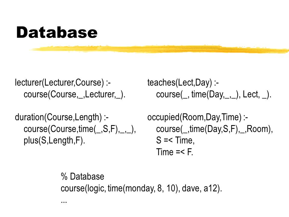 Database lecturer(Lecturer,Course) :- course(Course,_,Lecturer,_).