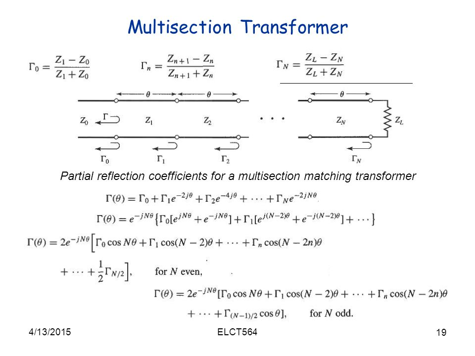 Multisection Transformer 4/13/2015 19 ELCT564 Partial reflection coefficients for a multisection matching transformer