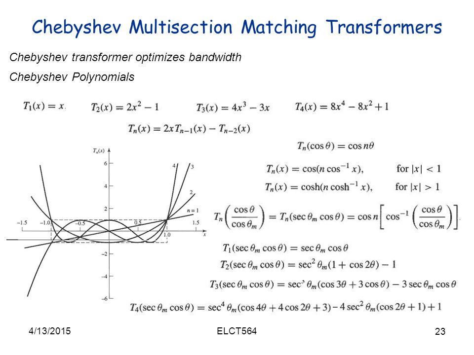 Chebyshev Multisection Matching Transformers 4/13/2015 23 ELCT564 Chebyshev transformer optimizes bandwidth Chebyshev Polynomials