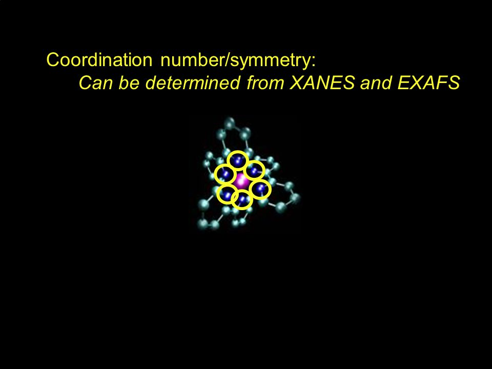 Coordination number/symmetry: Can be determined from XANES and EXAFS