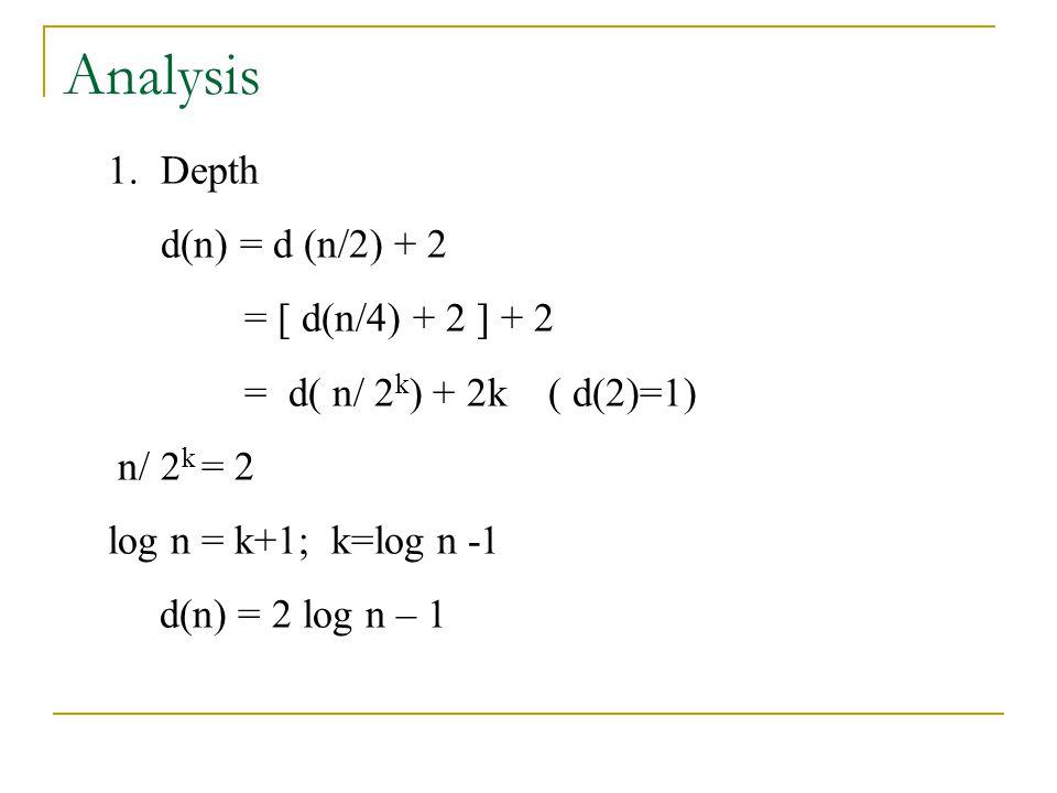 Analysis 1.Depth d(n) = d (n/2) + 2 = [ d(n/4) + 2 ] + 2 = d( n/ 2 k ) + 2k ( d(2)=1) n/ 2 k = 2 log n = k+1; k=log n -1 d(n) = 2 log n – 1