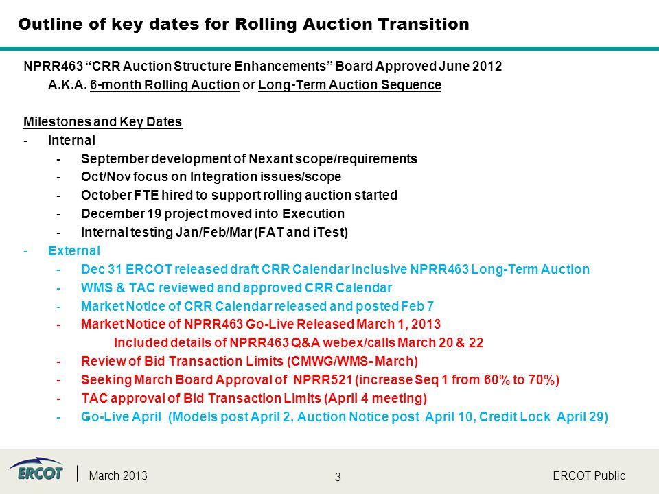 "3 ERCOT PublicMarch 2013 NPRR463 ""CRR Auction Structure Enhancements"" Board Approved June 2012 A.K.A. 6-month Rolling Auction or Long-Term Auction Seq"