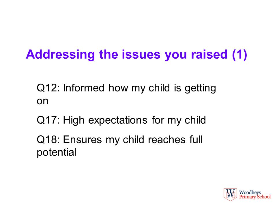 Addressing the issues you raised (1) Q12: Informed how my child is getting on Q17: High expectations for my child Q18: Ensures my child reaches full potential