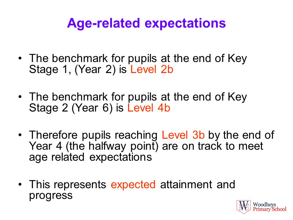 Age-related expectations The benchmark for pupils at the end of Key Stage 1, (Year 2) is Level 2b The benchmark for pupils at the end of Key Stage 2 (Year 6) is Level 4b Therefore pupils reaching Level 3b by the end of Year 4 (the halfway point) are on track to meet age related expectations This represents expected attainment and progress