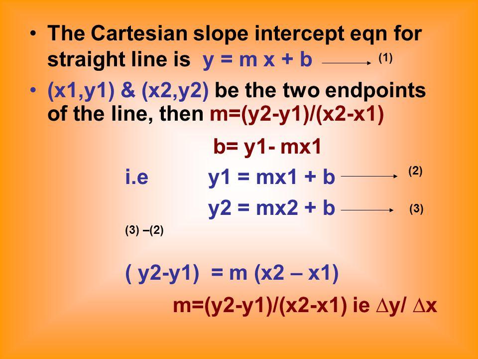 The Cartesian slope intercept eqn for straight line is y = m x + b (x1,y1) & (x2,y2) be the two endpoints of the line, then m=(y2-y1)/(x2-x1) b= y1- mx1 i.e y1 = mx1 + b y2 = mx2 + b (3) –(2) ( y2-y1) = m (x2 – x1) m=(y2-y1)/(x2-x1) ie ∆y/ ∆x (2) (3) (1)