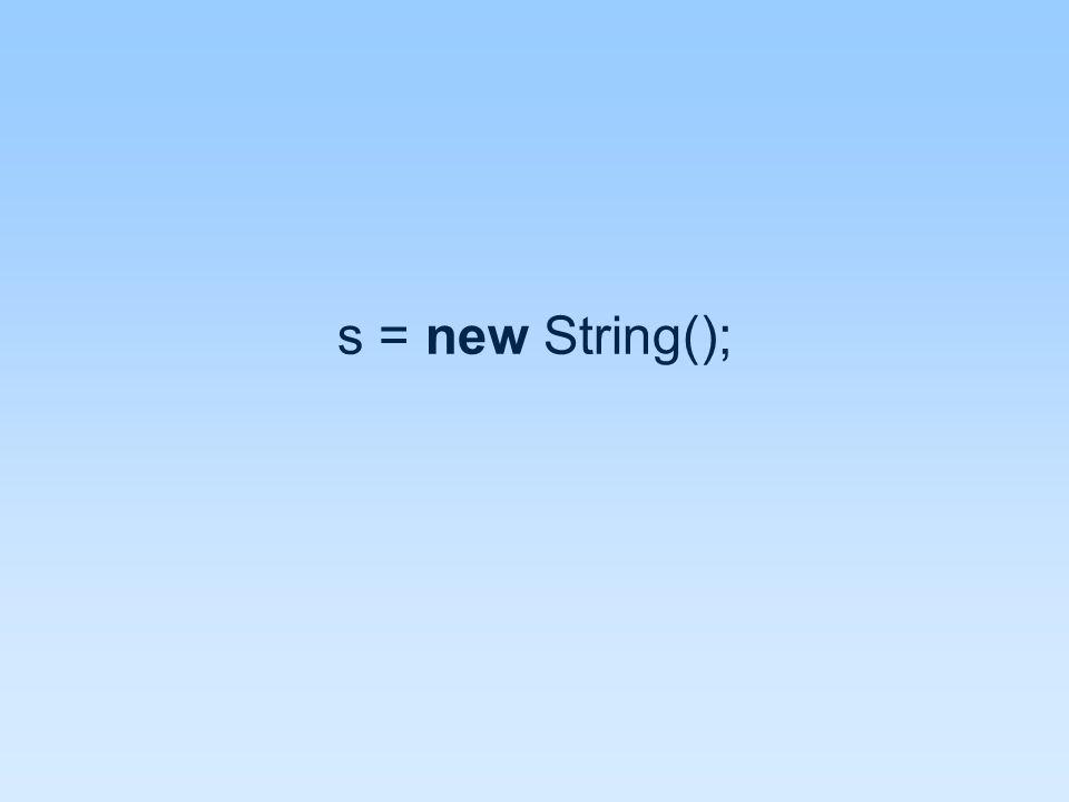 s = new String();