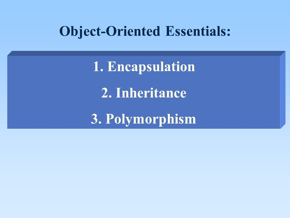 Object-Oriented Essentials: 1. Encapsulation 2. Inheritance 3. Polymorphism