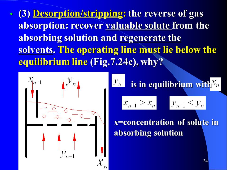 24 (3) Desorption/stripping: the reverse of gas absorption: recover valuable solute from the absorbing solution and regenerate the solvents.