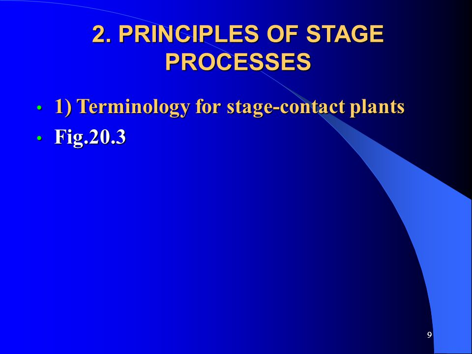 9 2. PRINCIPLES OF STAGE PROCESSES 1) Terminology for stage-contact plants 1) Terminology for stage-contact plants Fig.20.3 Fig.20.3