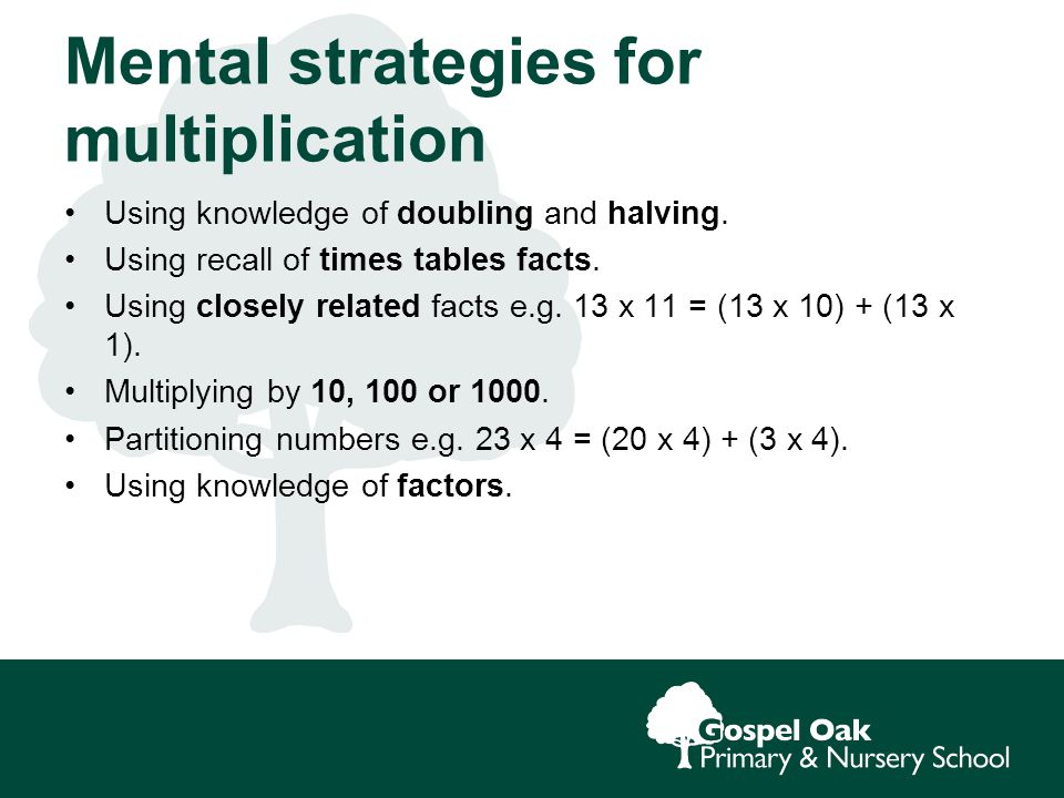 Mental strategies for multiplication Using knowledge of doubling and halving.