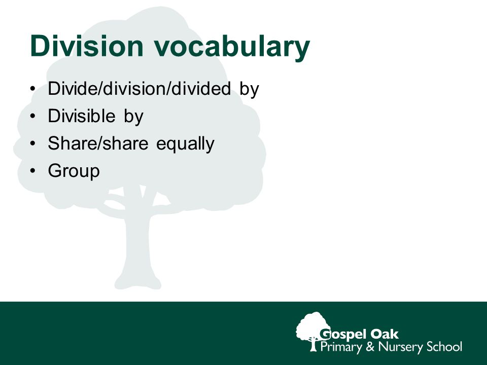 Division vocabulary Divide/division/divided by Divisible by Share/share equally Group