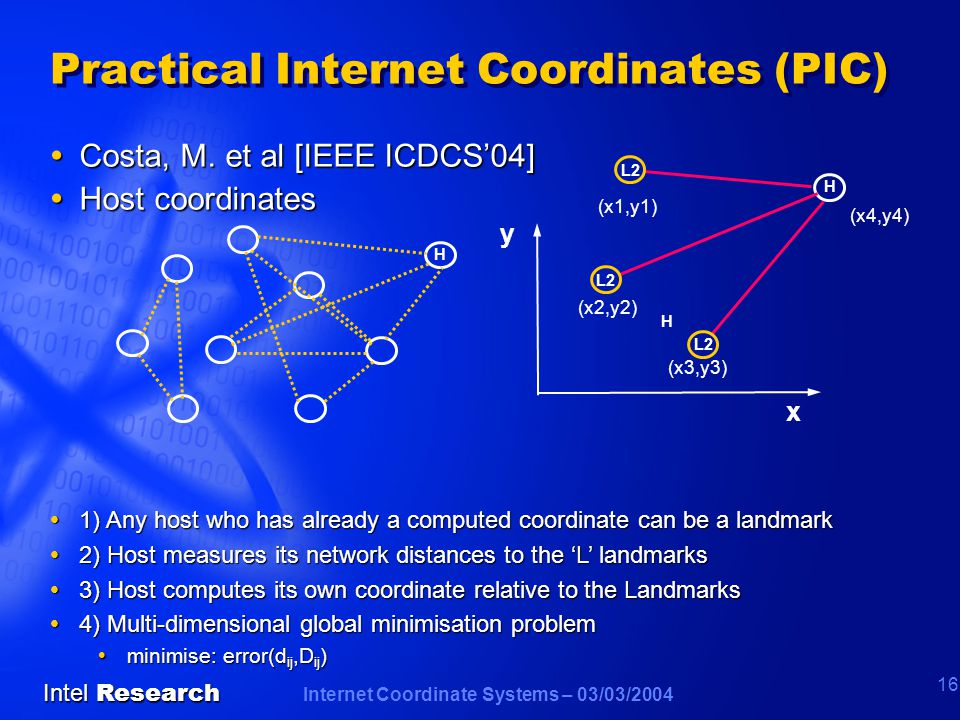 Internet Coordinate Systems – 03/03/2004 Intel Research 16 Practical Internet Coordinates (PIC)  Costa, M.