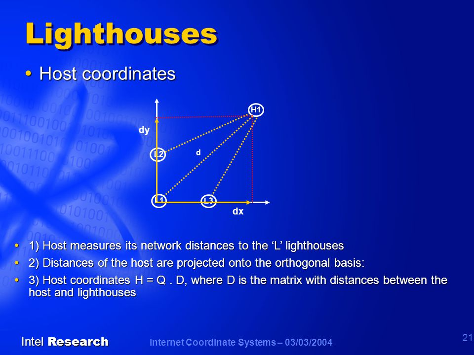 Internet Coordinate Systems – 03/03/2004 Intel Research 21 Lighthouses  Host coordinates  1) Host measures its network distances to the 'L' lighthouses  2) Distances of the host are projected onto the orthogonal basis:  3) Host coordinates H = Q.