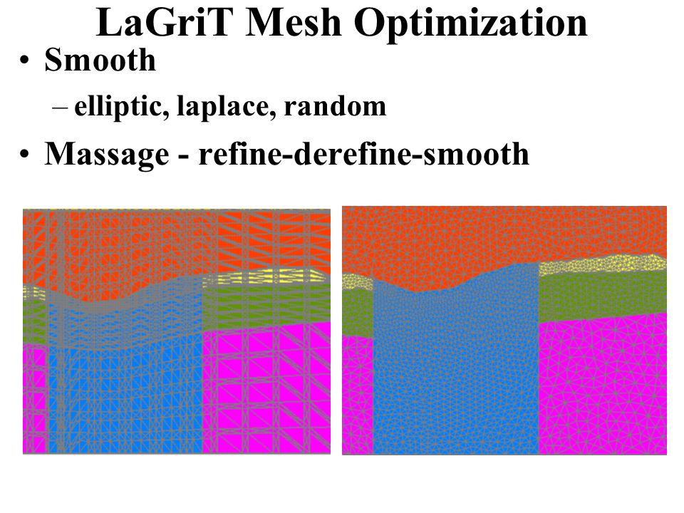 LaGriT Mesh Optimization Smooth –elliptic, laplace, random Massage - refine-derefine-smooth