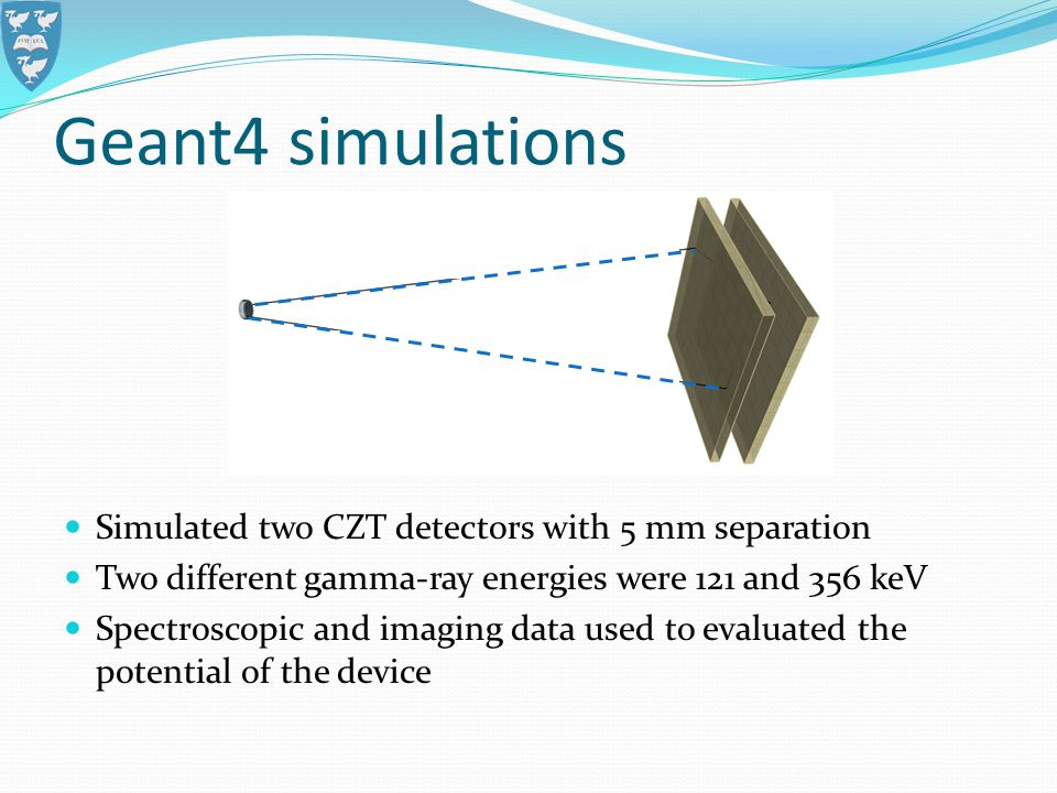 Geant4 simulations Simulated two CZT detectors with 5 mm separation Two different gamma-ray energies were 121 and 356 keV Spectroscopic and imaging da