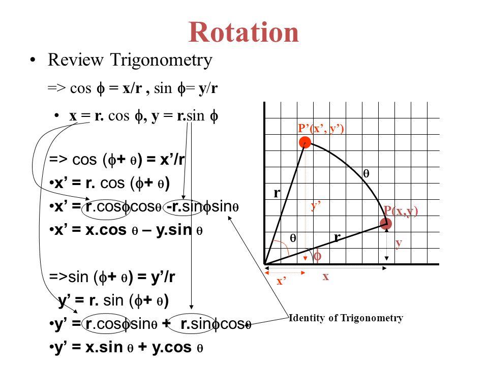 Rotation Review Trigonometry => cos  = x/r, sin  = y/r x = r. cos , y = r.sin    P(x,y) x y r x' y'  P'(x', y') r  => cos (  +  ) = x'/r x'