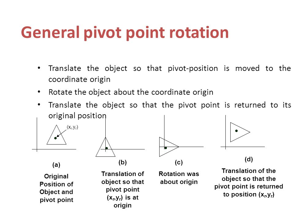 General pivot point rotation Translate the object so that pivot-position is moved to the coordinate origin Rotate the object about the coordinate origin Translate the object so that the pivot point is returned to its original position (x r,y r ) (a) Original Position of Object and pivot point (b) Translation of object so that pivot point (x r,y r ) is at origin (c) Rotation was about origin (d) Translation of the object so that the pivot point is returned to position (x r,y r )