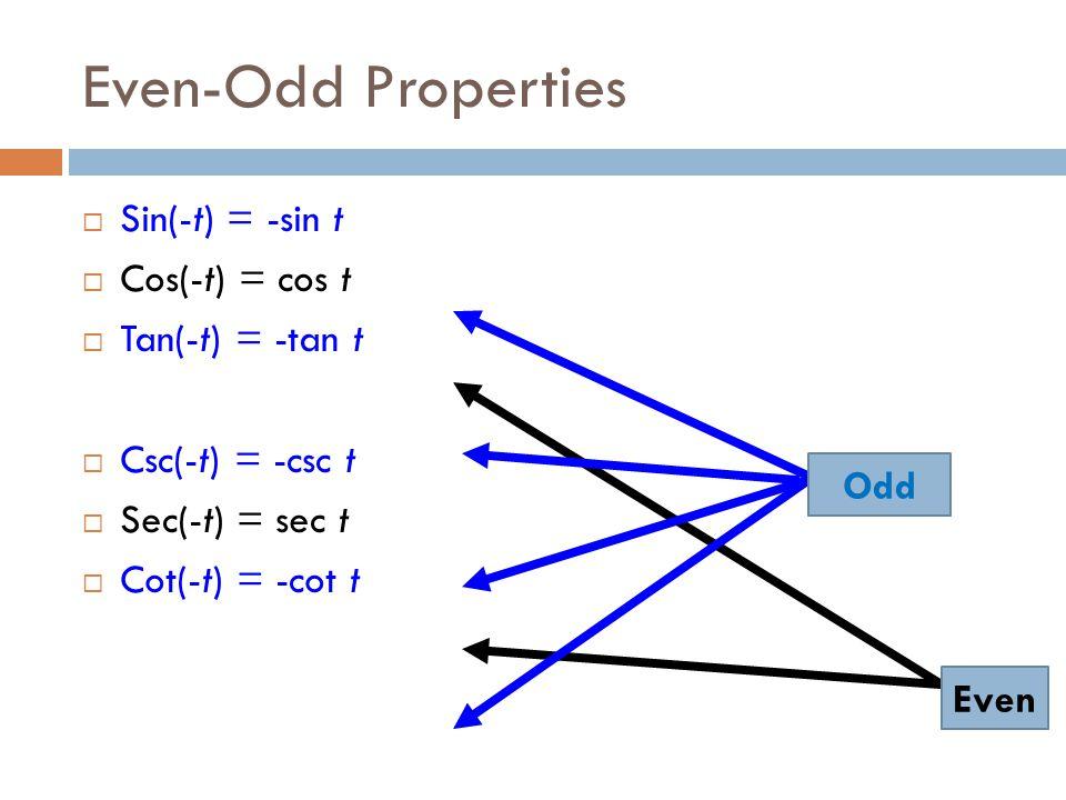 Even-Odd Properties  Sin(-t) = -sin t  Cos(-t) = cos t  Tan(-t) = -tan t  Csc(-t) = -csc t  Sec(-t) = sec t  Cot(-t) = -cot t Even Odd