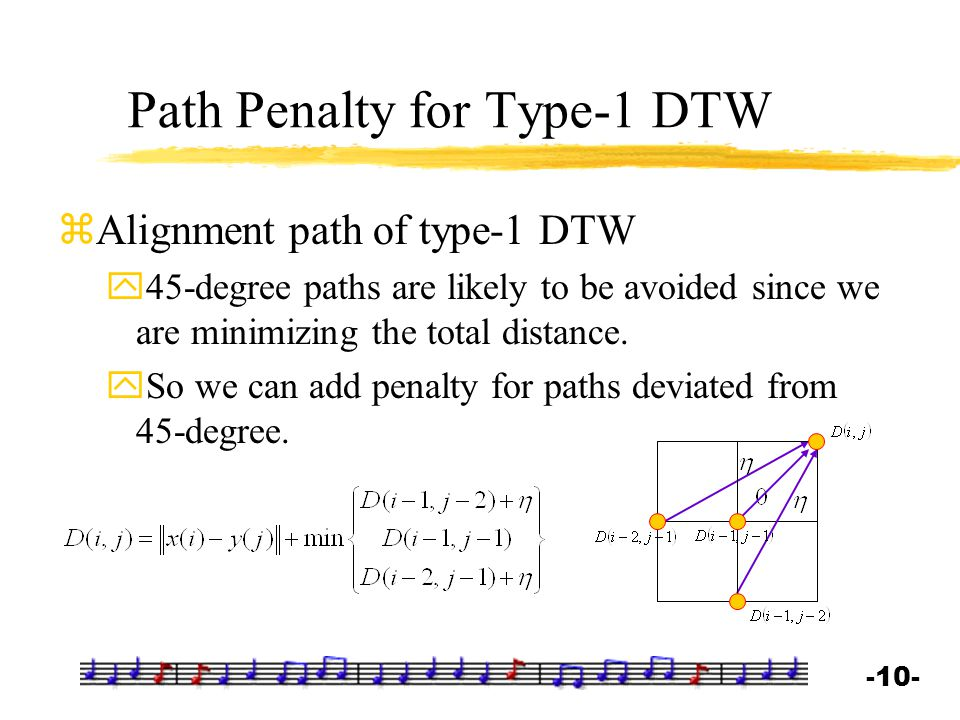 -10- Path Penalty for Type-1 DTW zAlignment path of type-1 DTW y45-degree paths are likely to be avoided since we are minimizing the total distance. y