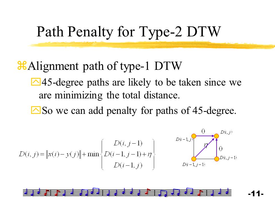 -11- Path Penalty for Type-2 DTW zAlignment path of type-1 DTW y45-degree paths are likely to be taken since we are minimizing the total distance. ySo