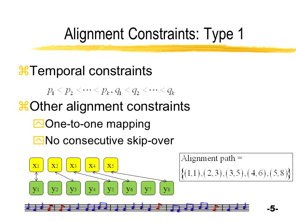 -5--5- Alignment Constraints: Type 1  Temporal constraints  Other alignment constraints  One-to-one mapping  No consecutive skip-over x1x1 x2x2 x3