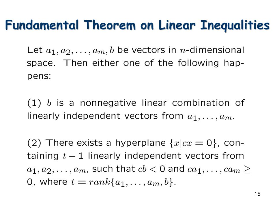 15 Fundamental Theorem on Linear Inequalities