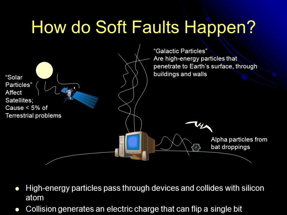 How do Soft Faults Happen? High-energy particles pass through devices and collides with silicon atom Collision generates an electric charge that can f