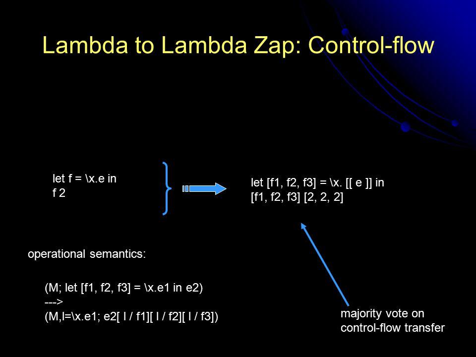 Lambda to Lambda Zap: Control-flow let f = \x.e in f 2 let [f1, f2, f3] = \x.