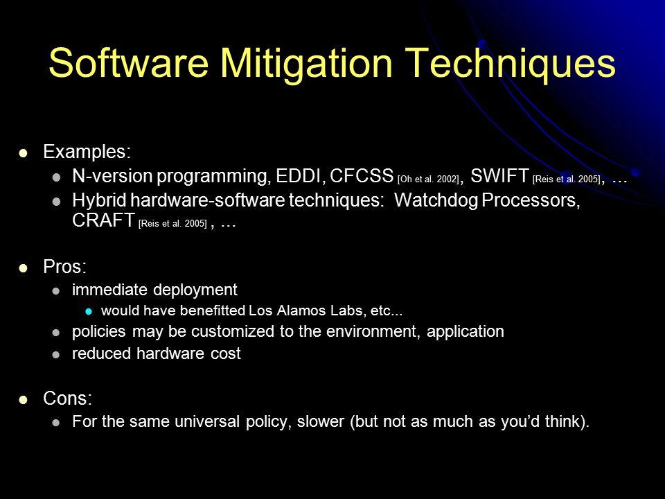 Software Mitigation Techniques Examples: N-version programming, EDDI, CFCSS [Oh et al. 2002], SWIFT [Reis et al. 2005],... Hybrid hardware-software te