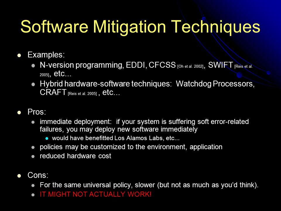 Software Mitigation Techniques Examples: N-version programming, EDDI, CFCSS [Oh et al. 2002], SWIFT [Reis et al. 2005], etc... Hybrid hardware-softwar