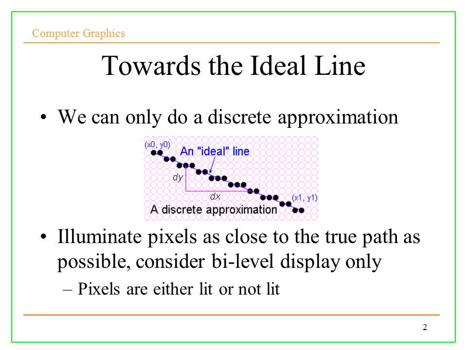 Computer Graphics 2 Towards the Ideal Line We can only do a discrete approximation Illuminate pixels as close to the true path as possible, consider bi-level display only –Pixels are either lit or not lit