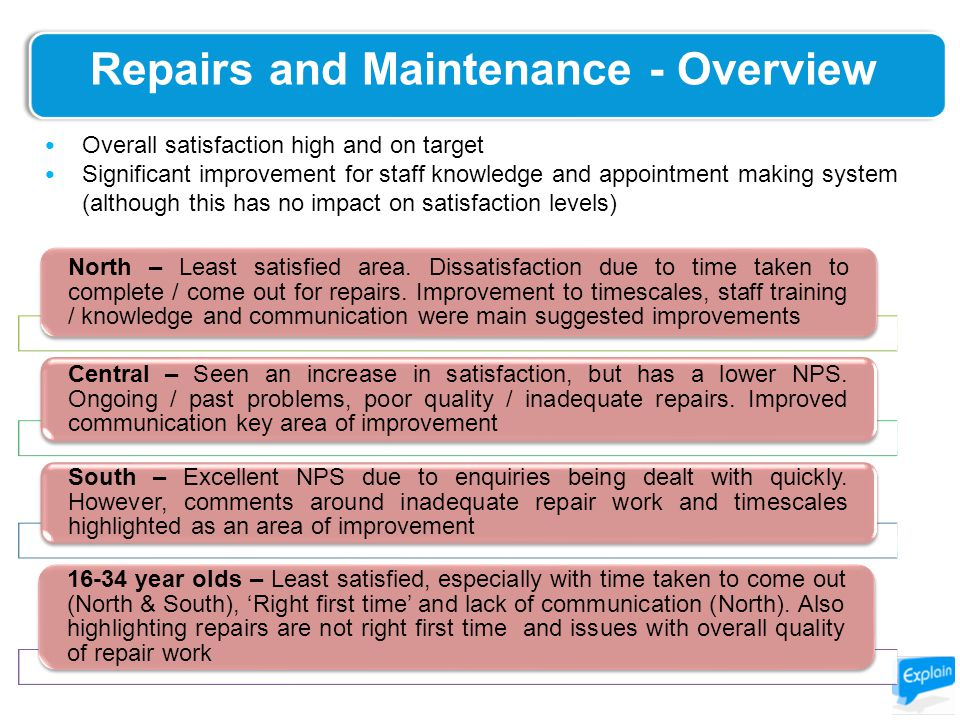 Repairs and Maintenance - Overview North – Least satisfied area.