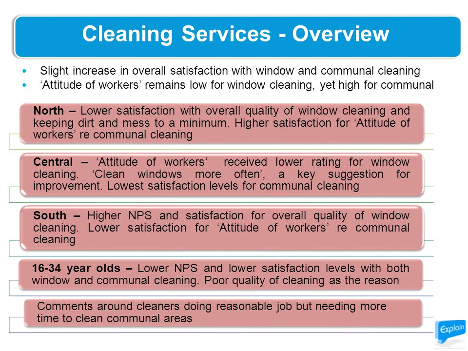 Cleaning Services - Overview North – Lower satisfaction with overall quality of window cleaning and keeping dirt and mess to a minimum.