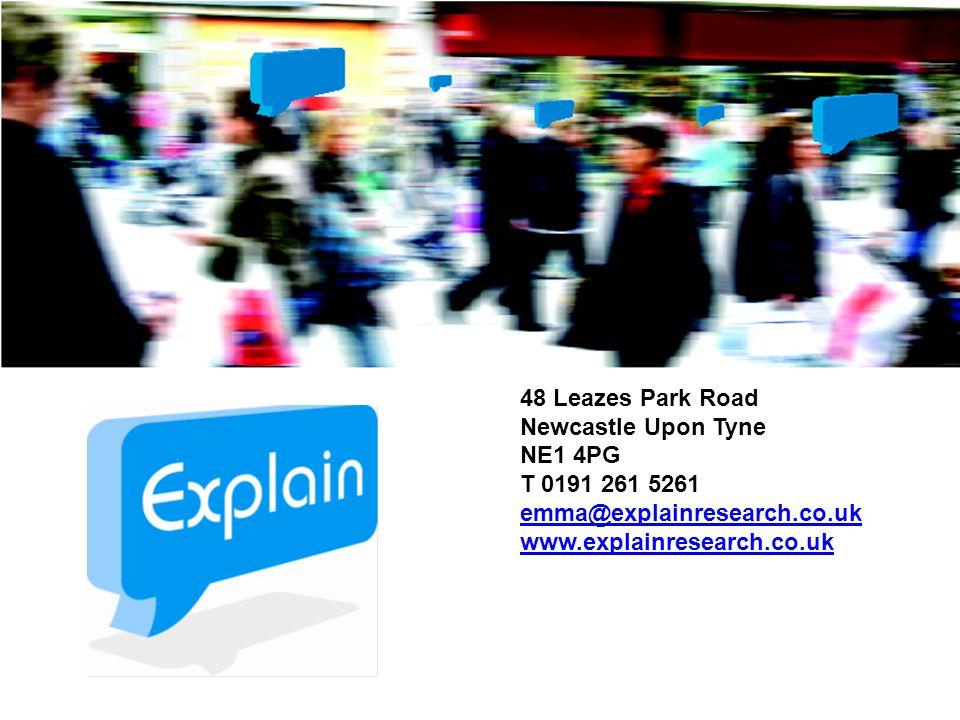 48 Leazes Park Road Newcastle Upon Tyne NE1 4PG T 0191 261 5261 emma@explainresearch.co.uk www.explainresearch.co.uk