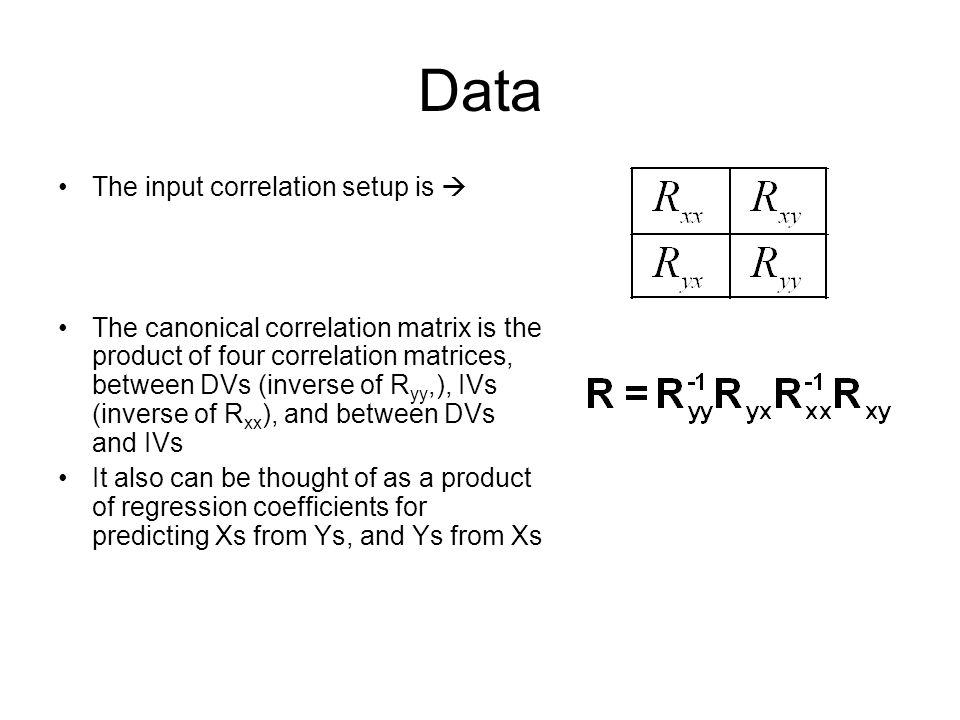 Data The input correlation setup is  The canonical correlation matrix is the product of four correlation matrices, between DVs (inverse of R yy,), IV