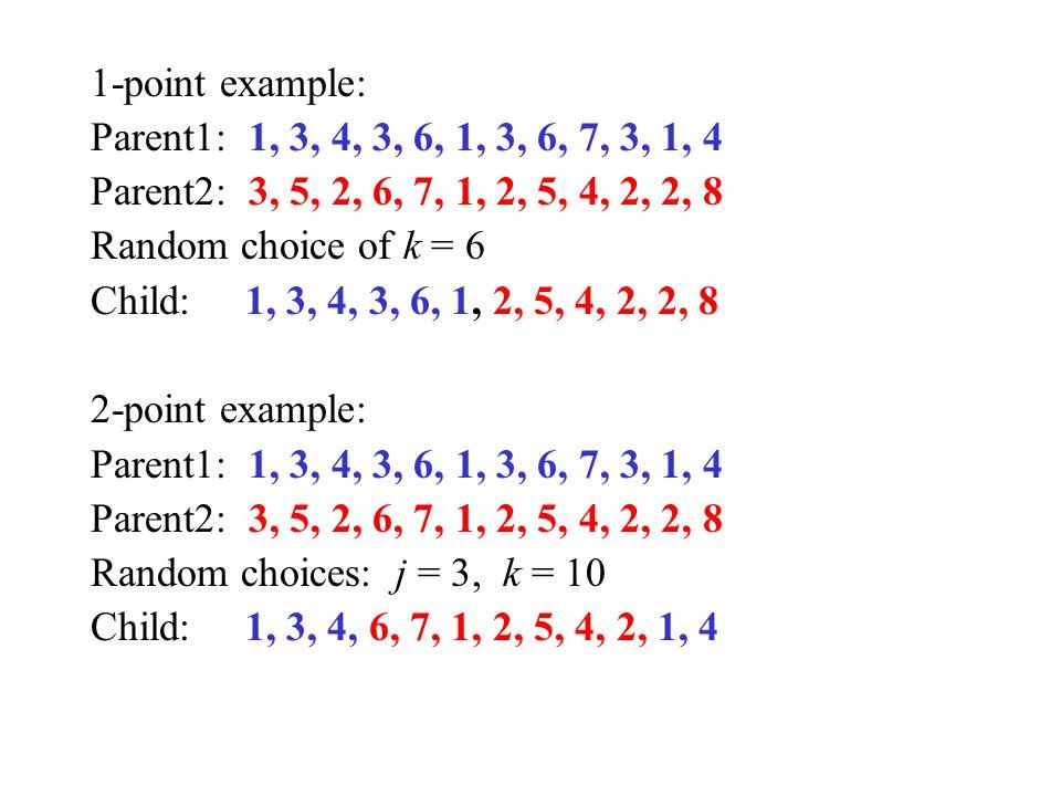 1-point example: Parent1: 1, 3, 4, 3, 6, 1, 3, 6, 7, 3, 1, 4 Parent2: 3, 5, 2, 6, 7, 1, 2, 5, 4, 2, 2, 8 Random choice of k = 6 Child: 1, 3, 4, 3, 6,