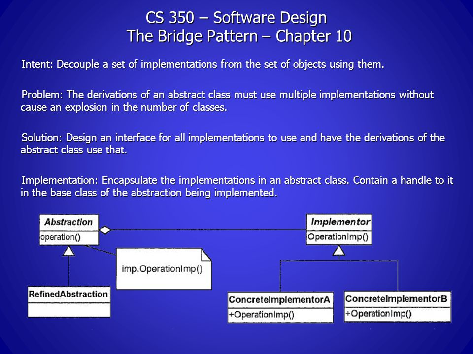 CS 350 – Software Design The Bridge Pattern – Chapter 10 Intent: Decouple a set of implementations from the set of objects using them.
